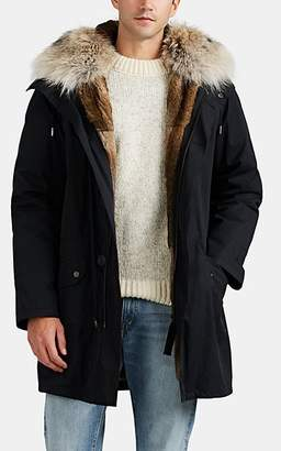Yves Salomon Army by Men's Fur-Lined & -Trimmed Down Cotton-Blend Parka - Black