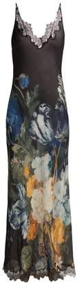 Carine Gilson Floral Print Silk Slip Dress - Womens - Navy Multi