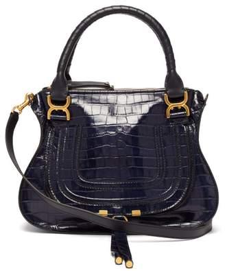 Chloé Marcie Medium Crocodile Embossed Leather Bag - Womens - Navy