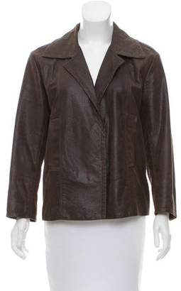 Christian Dior Leather Notch-Lapel Jacket