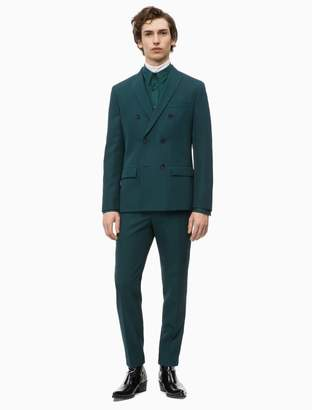 Calvin Klein fitted double breasted virgin wool blend suit