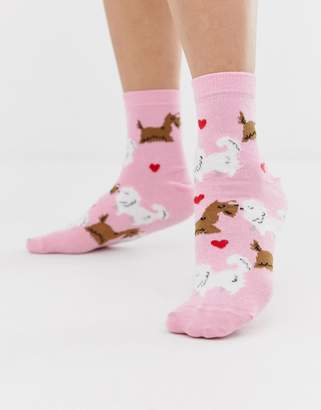Asos DESIGN Valentines kissing dog sock