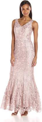 JS Collections Women's V Neck Lace Mermaid Gown