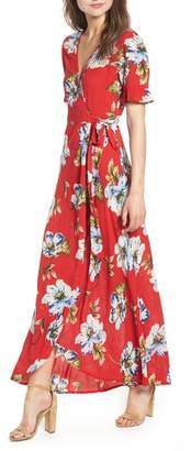 Band of Gypsies Blue Moon Floral Print Wrap Dress
