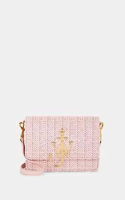 J.W.Anderson Women's Logo Mini Raffia & Leather Crossbody Bag - Light Pink