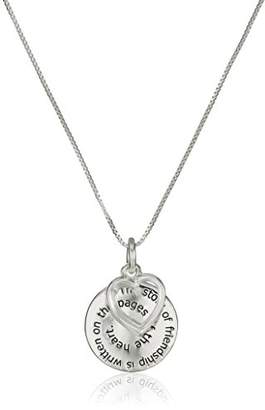 "story. Sterling ""The of Friendship"" Disc and Heart Pendant Necklace"