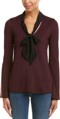 Three Dots Refined Silk-Trim Top
