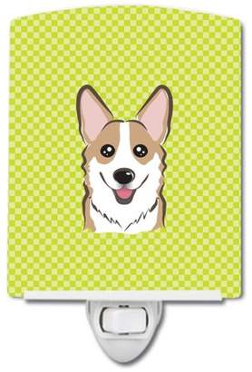 Corgi Caroline's Treasures Checkerboard Lime Green Ceramic Night Light