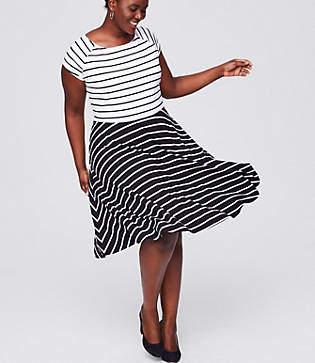 LOFT Plus Mixed Stripe Flare Dress