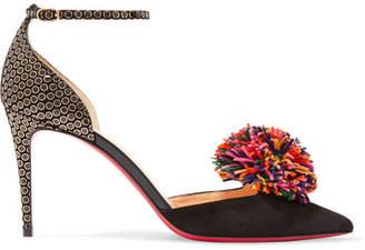 Christian Louboutin Tsarou Pompom-embellished Printed Suede Pumps - Black