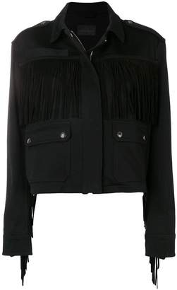 Diesel Black Gold tonal fringed jacket