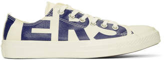 Converse White and Blue Wordmark Chuck Taylor All Star Sneakers