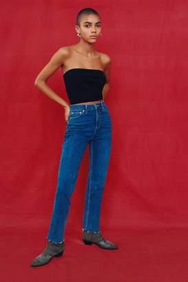 Topshop Mid Blue Raw Hem Straight Leg Jeans