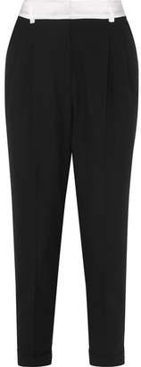 Racil - Albert Satin-trimmed Wool Tapered Pants - Black
