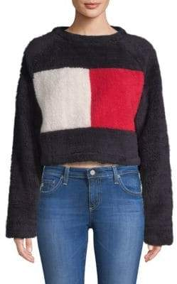 Tommy Hilfiger Tommy Cropped Fleece Flag Sweater