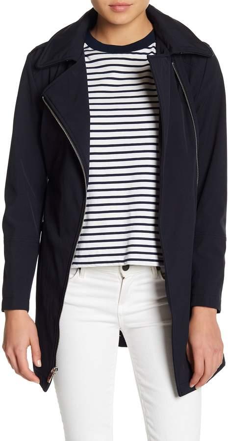 Via Spiga Asymmetrical Front Zip Hooded Raincoat (Petite)