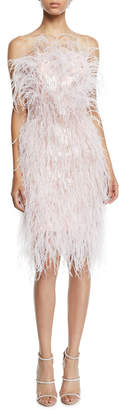Pamella Roland Feather & Crystal Fringe Strapless Cocktail Dress