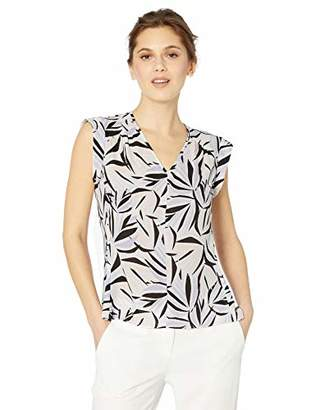 0524bcdc0cb70f Nine West Women s Cap Sleeve V-Neck Printed Crepe Blouse