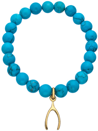 Privileged Gold Wishbone and Turquoise Beaded Stretch Bracelet