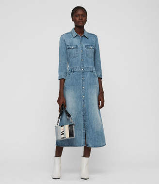AllSaints Polly Long Denim Dress