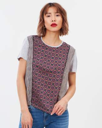 Maison Scotch Printed Tee With Ladder Tape