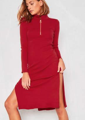a5ce926b9d Missy Empire Missyempire Torrie Red Ribbed Side Split Midi Dress