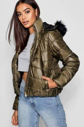 boohoo Synch Back Faux Fur Hooded Puffer Jacket
