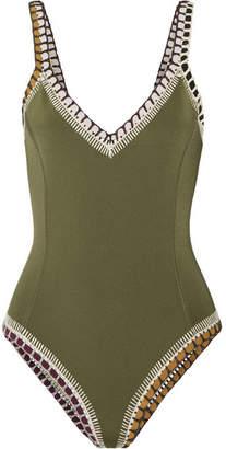 b3291c8dd9 ... Kiini Wren Crochet-trimmed Swimsuit - Army green