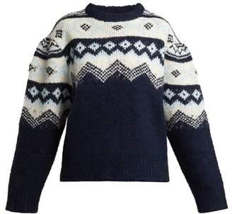 Sea Puffed Sleeve Fair Isle Sweater - Womens - Blue Multi