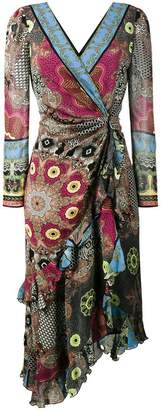 Etro deep-V printed wrap dress