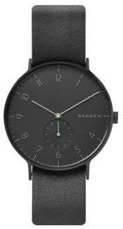 Skagen Aaren Stainless Steel Reversible Leather-Strap Watch