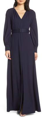Eliza J Long Sleeve Belted Gown