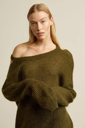 Genuine People Cocoon Mohair Blend Cut Out Sweater