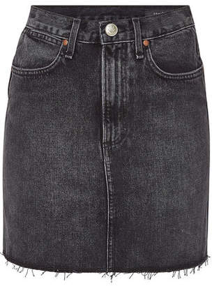Rag & Bone Moss Denim Mini Skirt with Distressed Hem