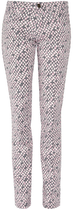 See by Chloé Python-print mid-rise skinny jeans