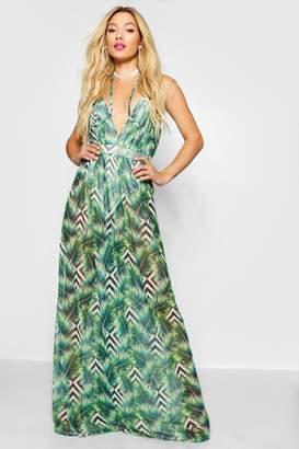 boohoo Palm Print Mesh Maxi Dress