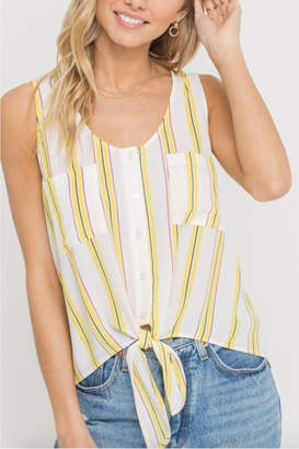 Lush Clothing Stripe Tie Front Top