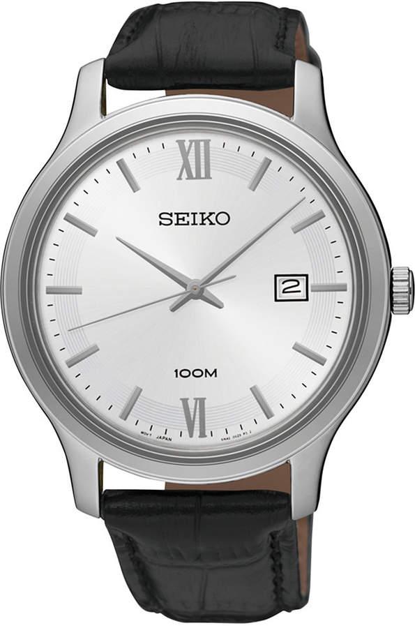 SeikoSeiko Men's Special Value Quartz Black Leather Strap Watch 41mm SUR225