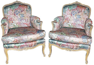 One Kings Lane Vintage French L. XV Type Bergere Armchairs - Set of 2 - House of Charm Antiques