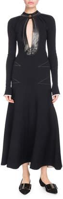 Proenza Schouler Keyhole-Front Long-Sleeve A-Line Dress w/ Topstitching