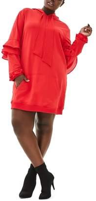 ELVI The Snapdragon Ruffle Sleeve Hoodie Dress