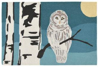Liora Manné Trans Ocean Imports Frontporch Snowy Owl Night Indoor Outdoor Rug