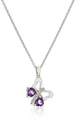 Sterling Silver African Amethyst Butterfly Heart Pendant Necklace