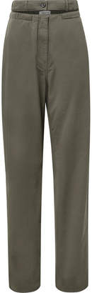 Valentino Cutout Cotton-twill Straight-leg Pants - Army green