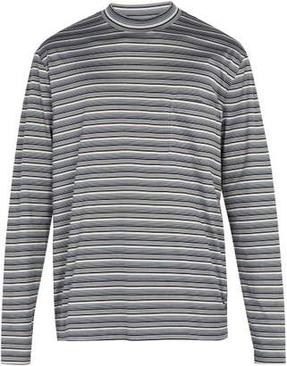 Lanvin Striped Long Sleeved Cotton T Shirt - Mens - Multi