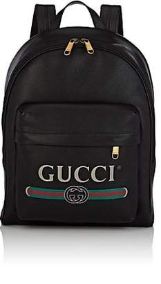 Gucci Men's Logo Leather Backpack - Black