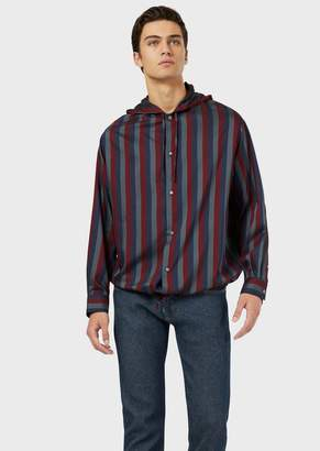 Emporio Armani Oversized Striped Shirt With Drawstring And Hood