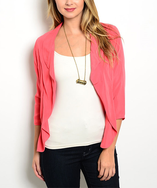 Coral Three-Quarter Sleeve Open Blazer