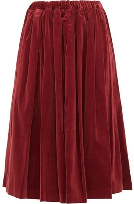 Comme des Garcons Pleated Velvet Midi Skirt - Womens - Burgundy