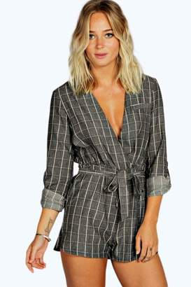 boohoo Textured Check Draped Playsuit